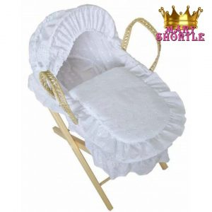 White Basket with Stand Hamper Mary Shortle