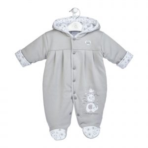 Little Elephant Cotton Pramsuit in Grey Mary Shortle
