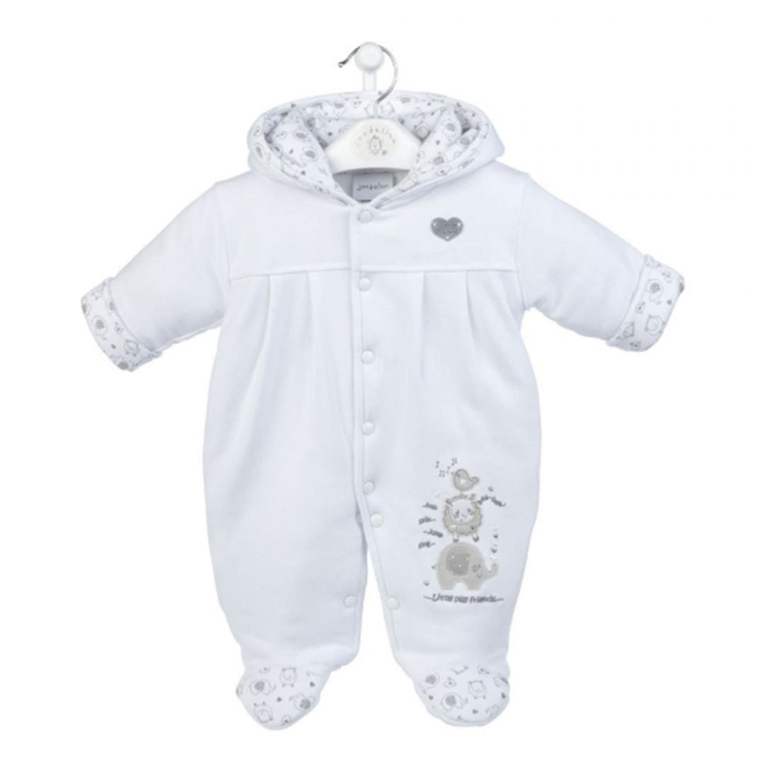 Little Elephant Cotton Pramsuit in White Mary Shortle