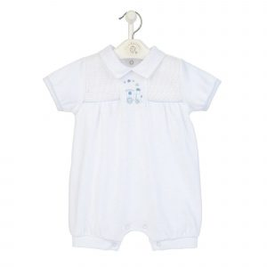 Mary Shortle Train Velour Smocked Romper White Clothing