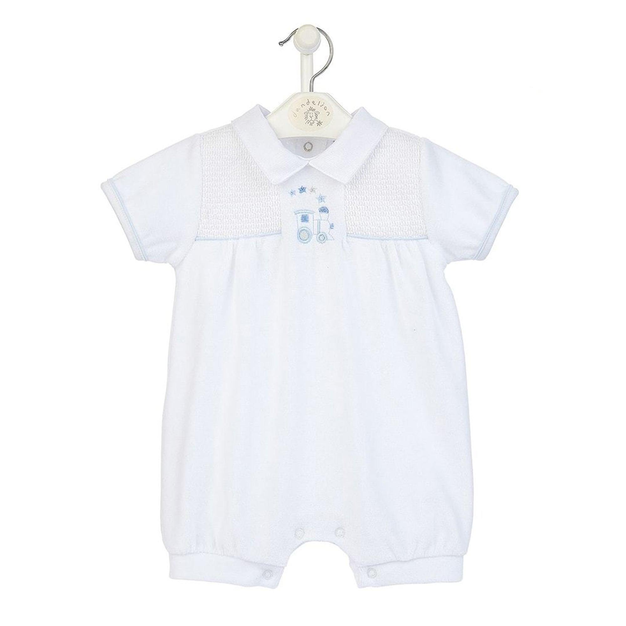 Mary Shortle Train Velour Smocked Romper White Clothing