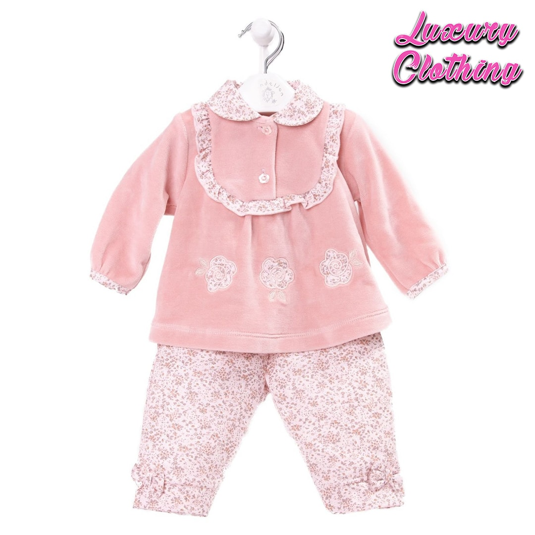 Girls Floral Trouser and Velour Top with Peter Pan Collar Luxury Clothing Mary Shortle