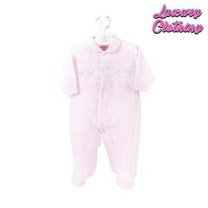 Girls Ribbon Smocked Velour Sleepsuit Luxury Clothing Mary Shortle