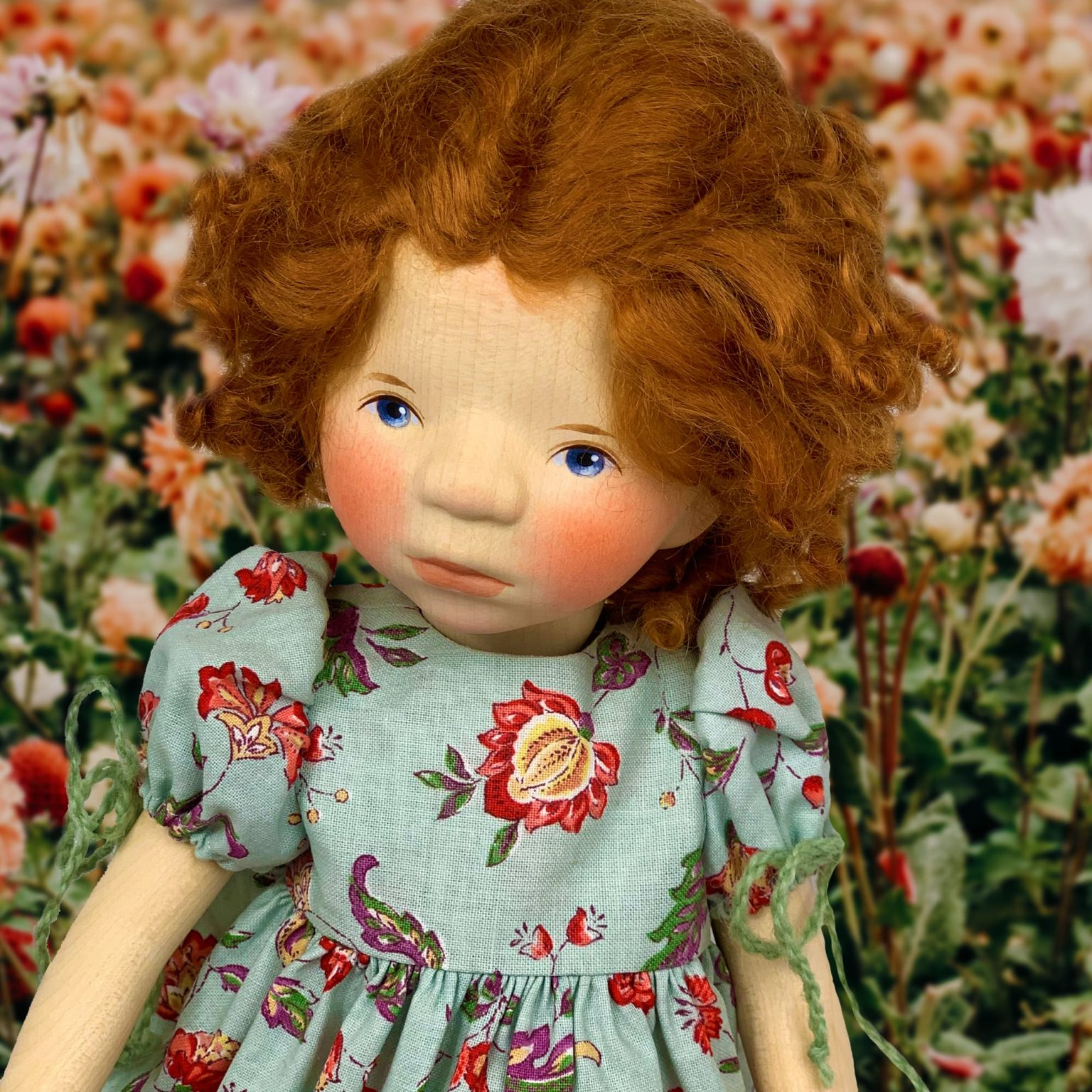 Girl In Blue Dress With Red Curly Hair Artist Doll Elisabeth Pongratz Mary Shortle