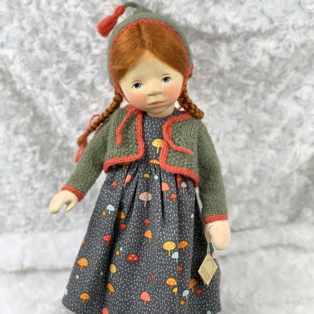 Red Head in Mushroom Print Dress Wooden Doll Pongratz