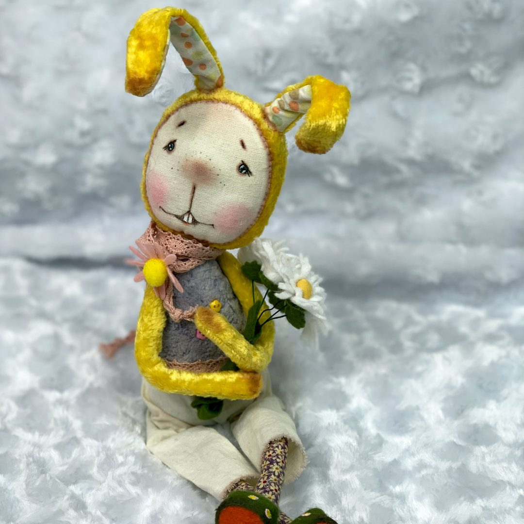 Unique Russian Artist rabbit Fabric Hand Painted Detail Mary Shortle