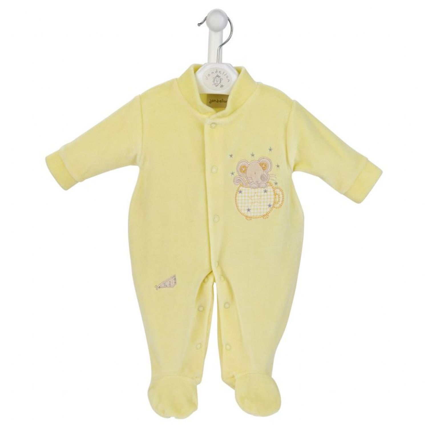 Mouse in Teacup Velour Sleepsuit Lemon Mary Shortle
