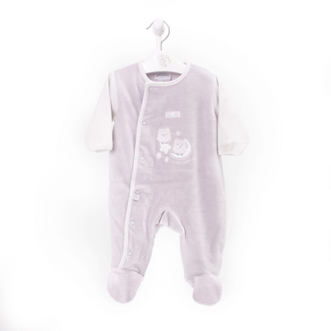Owl on Moon Boys Velour Sleepsuit Mary Shortle