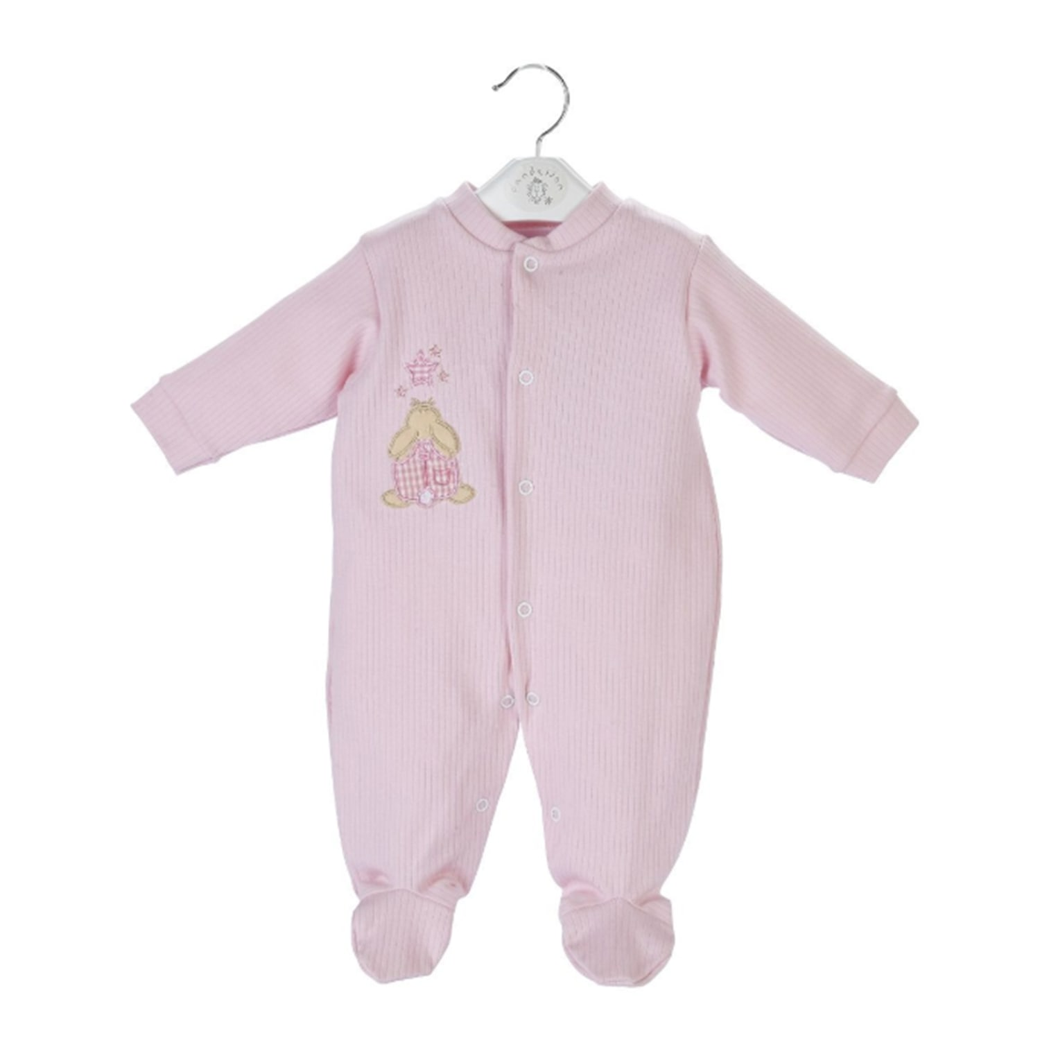 Pink Rabbit Star Ribbed Sleepsuit Mary Shortle