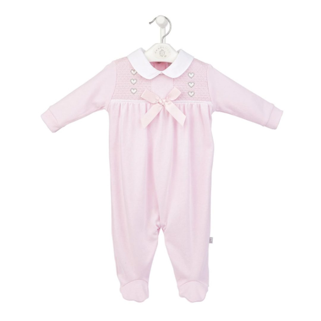 Pink Heart & Bow Smocked Cotton Sleepsuit