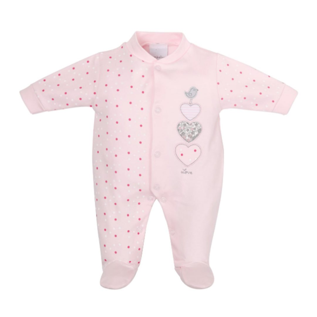Triple Hearts Cotton Sleepsuit