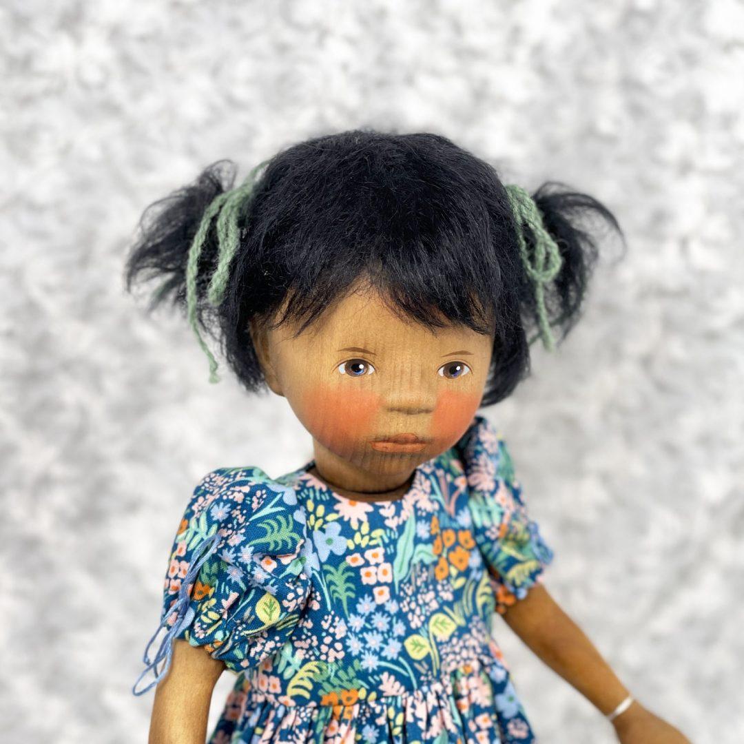 African American Girl in Blue Dress-min